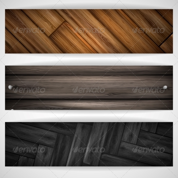 Wooden Grey Banner. - Backgrounds Decorative