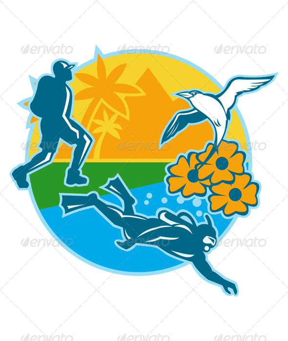 Hiker Scuba Diver Island Tropicbird Flowers Retro - People Characters