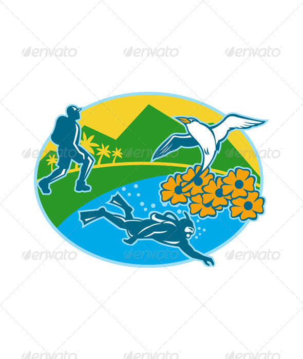 Scuba Diver Hiker Island Tropicbird Flowers Retro - People Characters