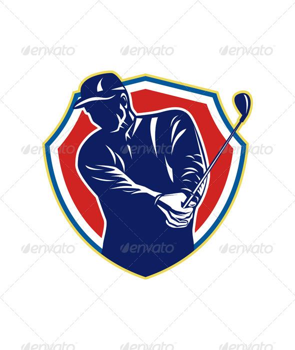 Golfer Swing Club Playing Golf Retro - Sports/Activity Conceptual