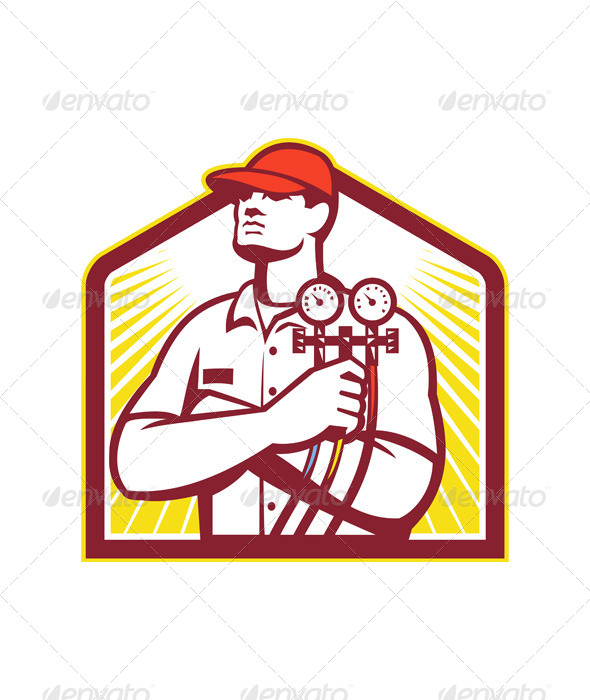 Heating and Cooling Refrigeration Technician Retro - People Characters