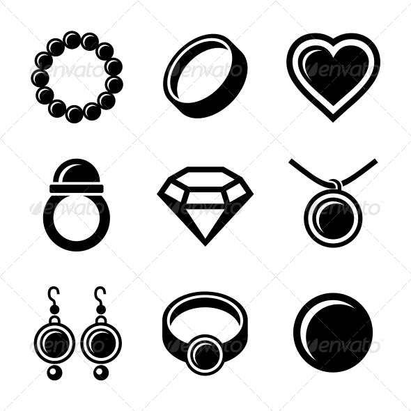 Jewelry Icons Set - Retail Commercial / Shopping