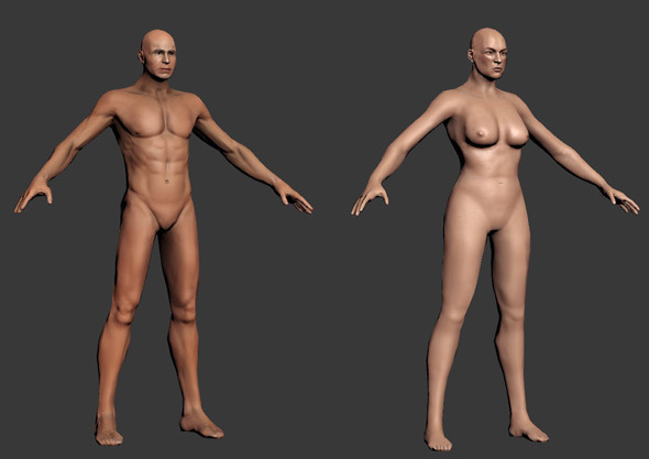 Human - Male and Female base mesh - rigged - 3DOcean Item for Sale