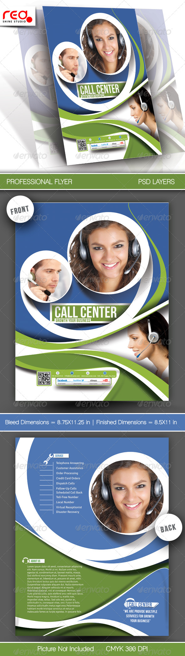 Customer Support Flyer & Poster Template - 3 - Corporate Flyers