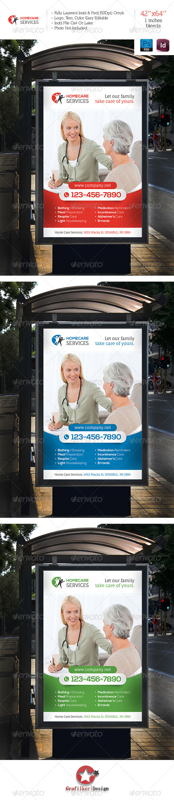 Home Care Services Banner Template - Signage Print Templates