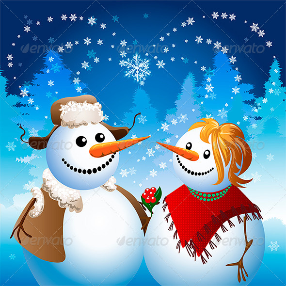 Snowman on Date - Characters Vectors