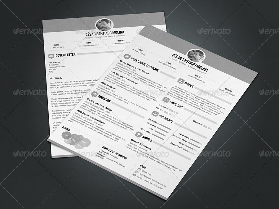 simple resume 3 cover letter a4 and us letter by csm web