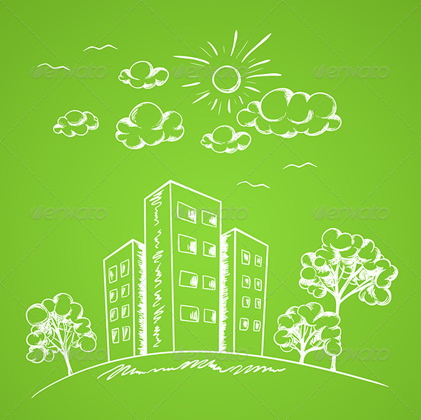 Green Background with House - Buildings Objects