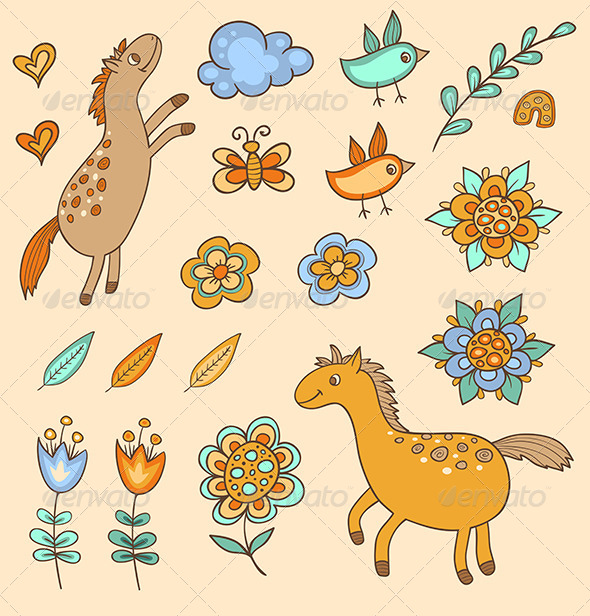 Set of Doodle Design Elements - Animals Characters