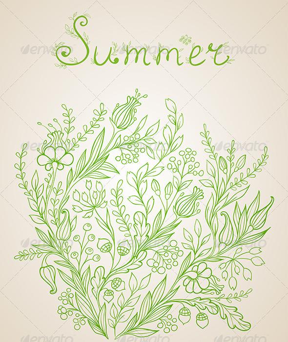 Green Floral Background - Backgrounds Decorative
