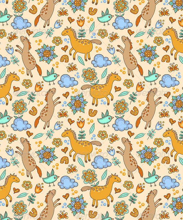 Seamless Pattern with Horses - Patterns Decorative