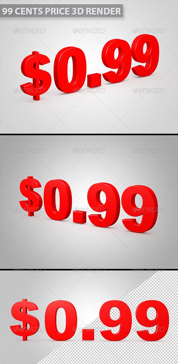 99 Cents 3D Illustration - Text 3D Renders