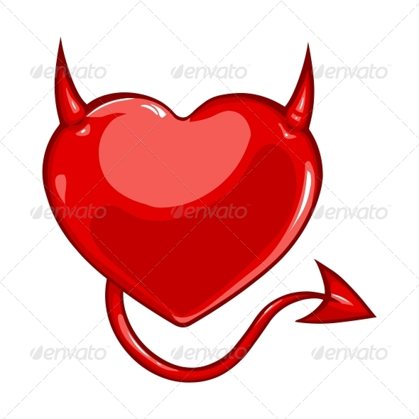 Heart with Devil Horns and a Tail - Valentines Seasons/Holidays
