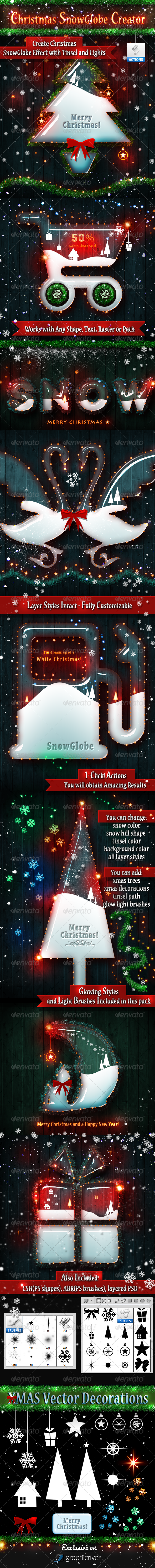 Christmas Snow Globe Photoshop Creator - Utilities Actions