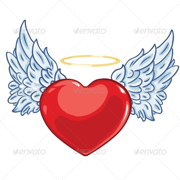 Heart with Angel Wings and a Halo - Valentines Seasons/Holidays