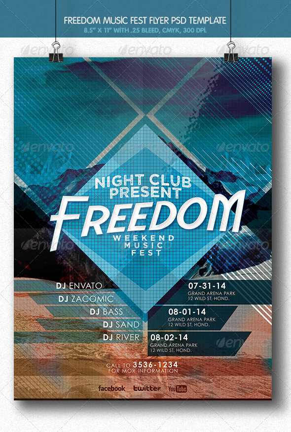 Freedom Music Fest Flyer - Concerts Events