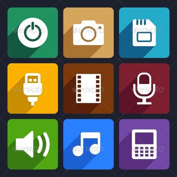 Multimedia Flat Icons Set  2 - Technology Icons