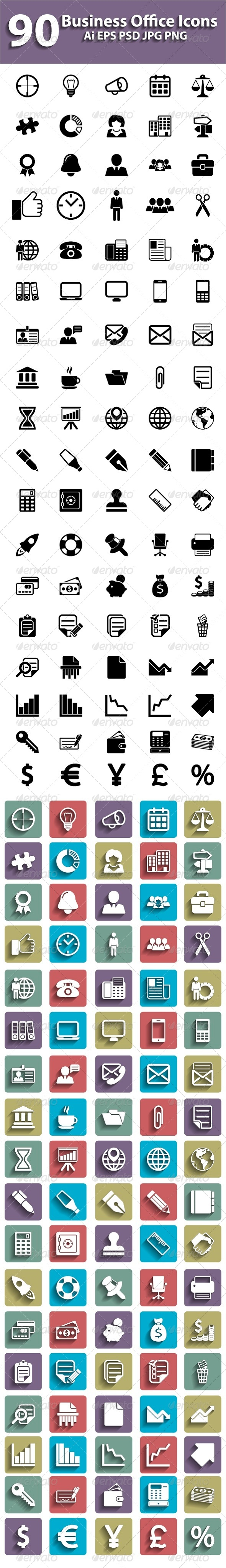 90 Business Icons Set - Business Icons