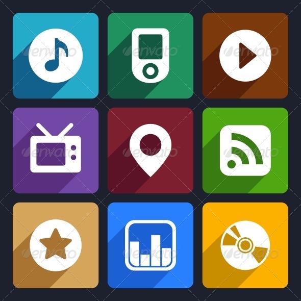 Multimedia Flat Icons Set  1 - Technology Icons