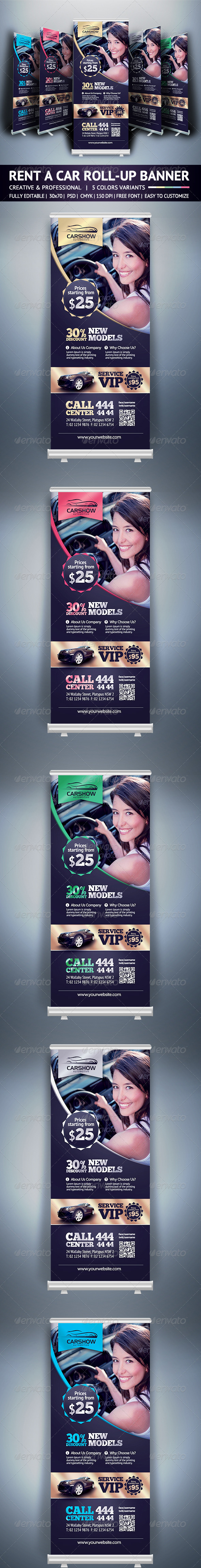 Rent A Car Roll Up Banner - Signage Print Templates