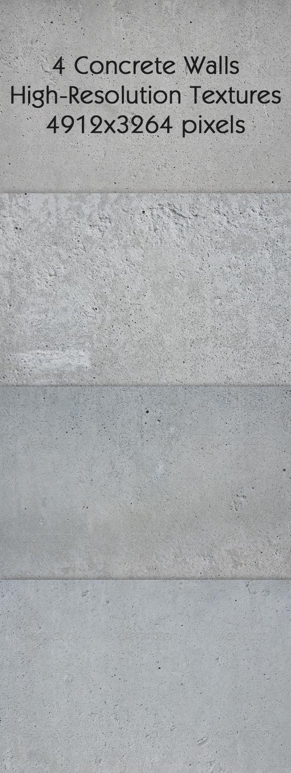 4 Concrete Walls Textures - Concrete Textures