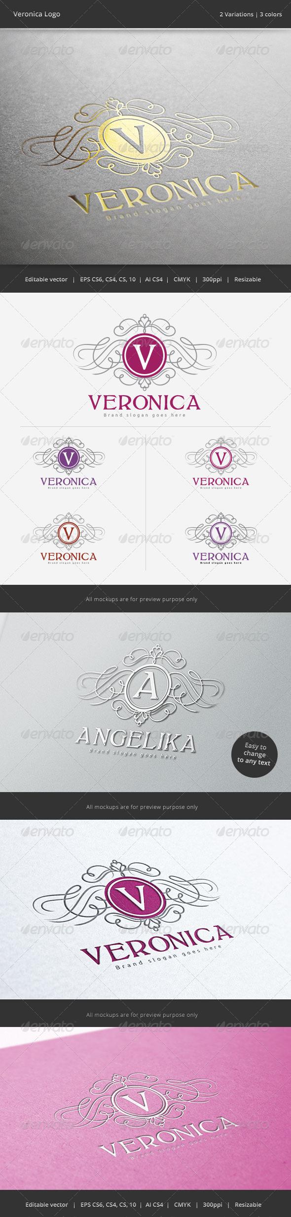Veronica Letter Crest  Logo - Crests Logo Templates