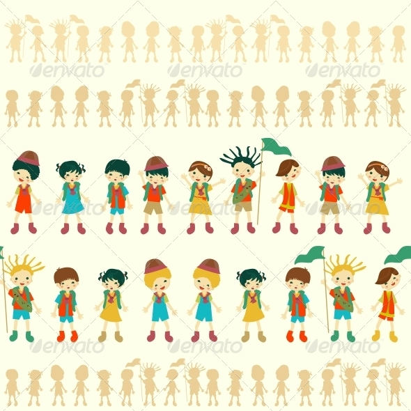 Illustration of Seamless Children Pattern - People Characters