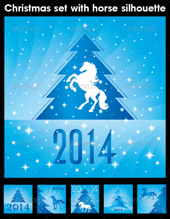 Christmas Set with Horse Silhouette - Backgrounds Decorative