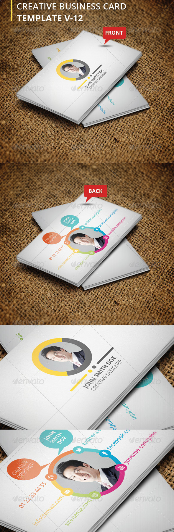Creative Business Card V-12 - Corporate Business Cards