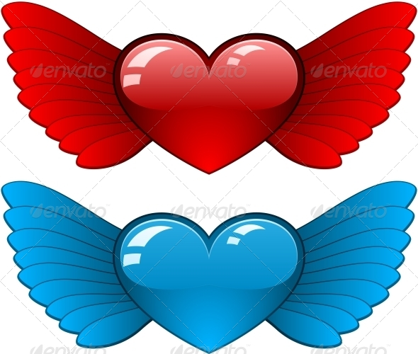 Hearts with Wings - Decorative Symbols Decorative