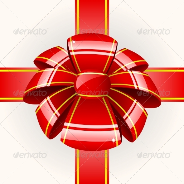 Big Red Bow with Ribbon - Decorative Symbols Decorative