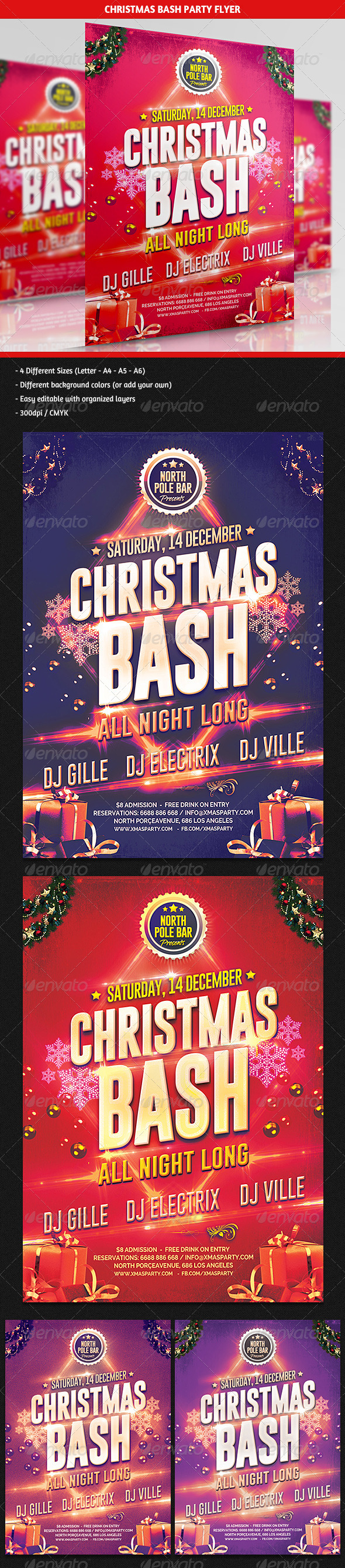 Christmas Bash Party Flyer - Clubs & Parties Events