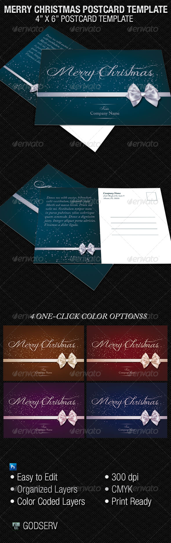 Merry Christmas Postcard Template - Holidays Events