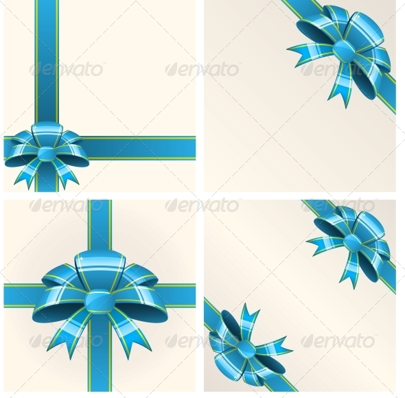 Blue Bow with Ribbons - Birthdays Seasons/Holidays