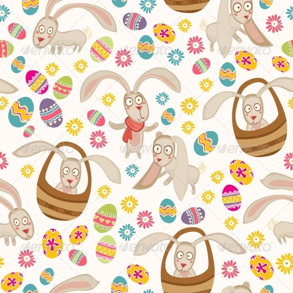 Easter Pattern with Bunny - Patterns Decorative