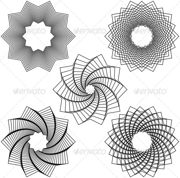 Five Black Spirals - Decorative Symbols Decorative