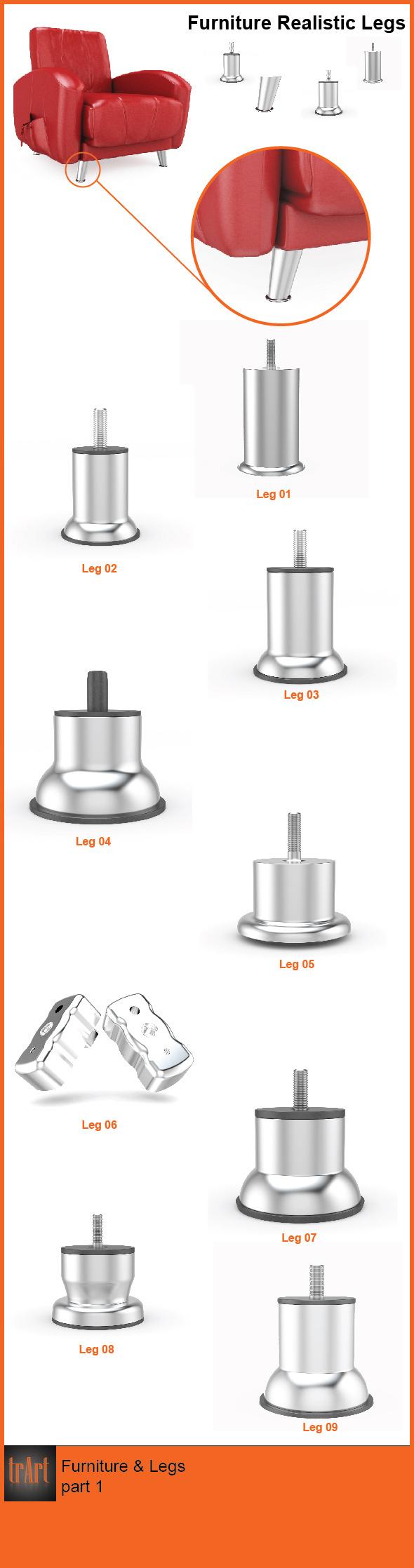 Furniture Legs - 3DOcean Item for Sale
