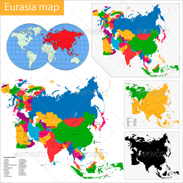 Eurasia Map - Travel Conceptual