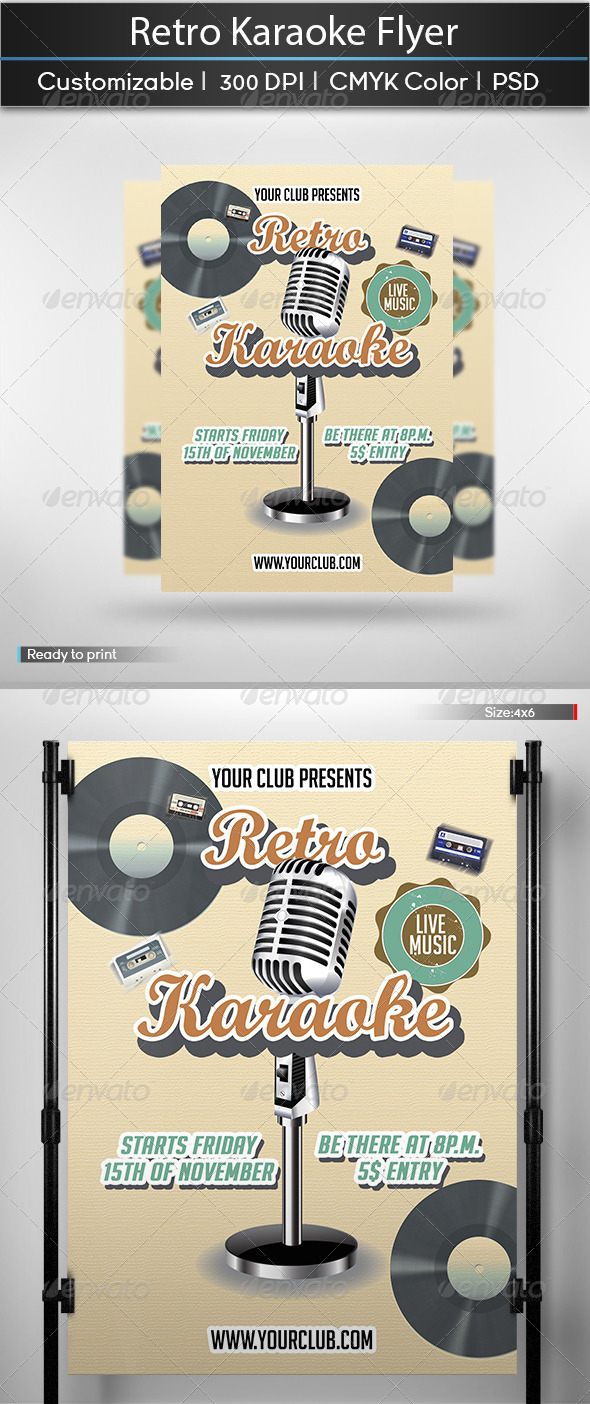Retro Karaoke Flyer - Events Flyers