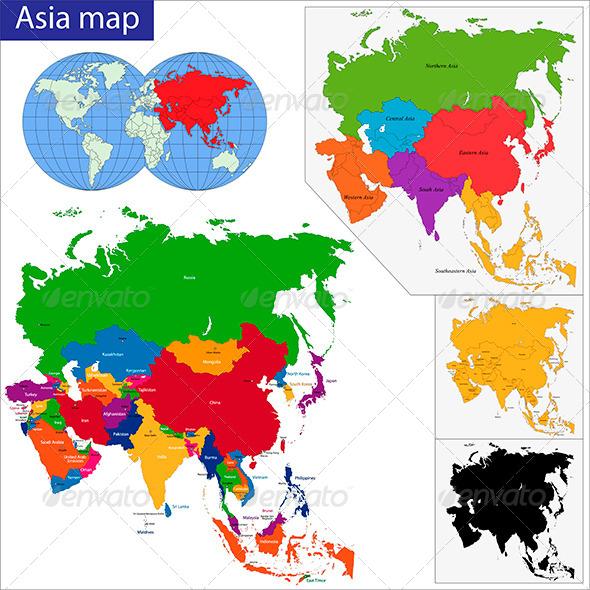Asia Map - Travel Conceptual