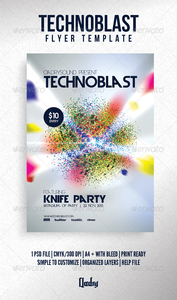 Technoblast Flyer Template - Clubs & Parties Events