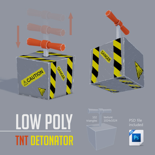 Low Poly TNT Detonator - 3DOcean Item for Sale