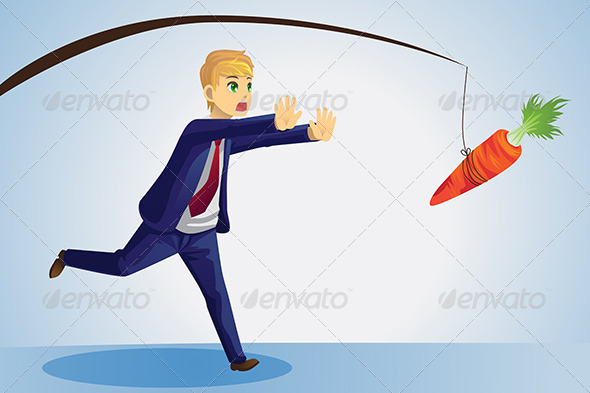Businessman Reaching for Carrot - Conceptual Vectors