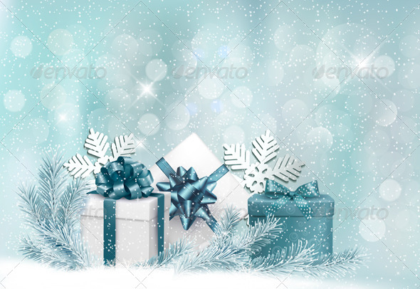 Holiday Background with Gift Ribbon with Gift Box - Christmas Seasons/Holidays