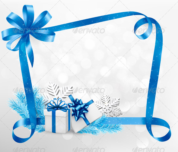 Holiday Background with Blue Gift Bow and Gift Box - Christmas Seasons/Holidays