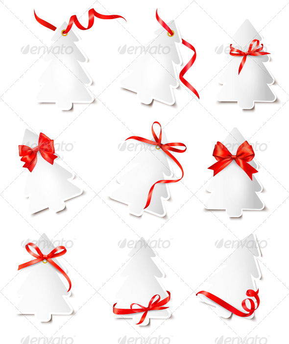 Set of Gift Cards with Red Gift Bows Wit - Christmas Seasons/Holidays