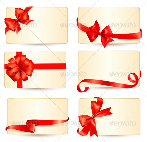 Set of Gift Cards with Red Gift Bows - Christmas Seasons/Holidays