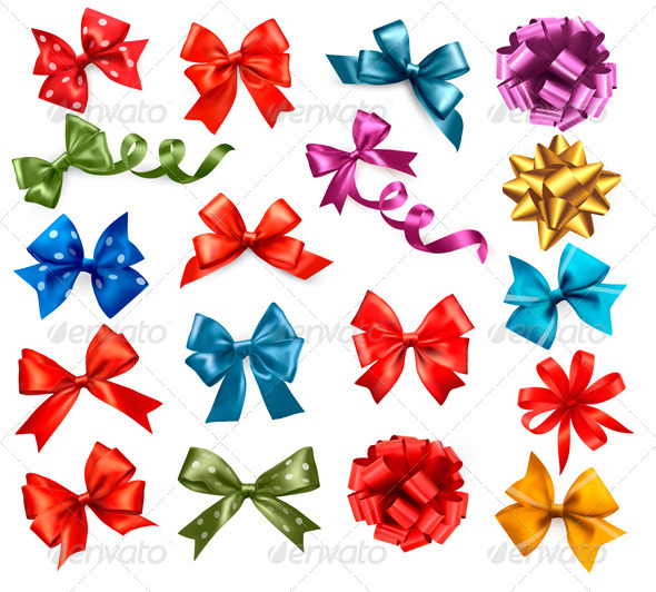 Big Collection of Color Gift Bows with Ribbons - Seasons/Holidays Conceptual