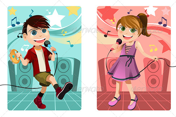 Kids Singing Karaoke - People Characters