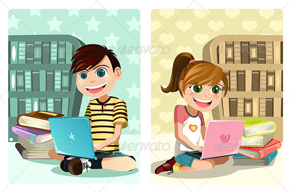 Kids Studying Using Laptop - People Characters